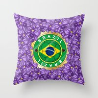 brazil Throw Pillows featuring Football Brazil by mewdew