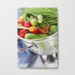 Fresh vegetables in metal colander with blue napkin Metal Print