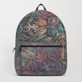 Winter Sunset Mandala in Charcoal, Mint and Melon Backpack