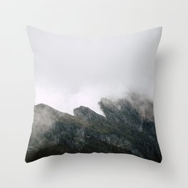 Foggy Seceda mountain in Italy Throw Pillow
