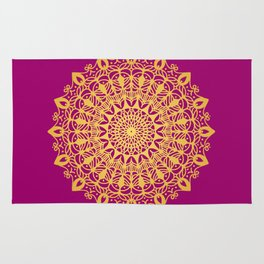 Gold yoga mandala Indian henna pattern Rug