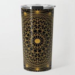 Geometric Circle Black and Gold Travel Mug