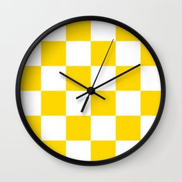 Large Checkered - White and Gold Yellow Wall Clock