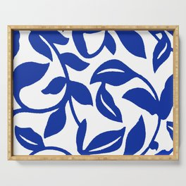 PALM LEAF VINE SWIRL BLUE AND WHITE PATTERN Serving Tray