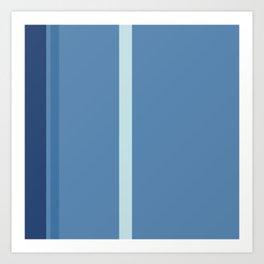 An enchanting amalgam of Light Grey, Police Blue, Rackley and Muted Blue vertical stripes. Art Print