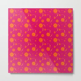 Orange Daisy Flowers on Hot Pink Background Metal Print