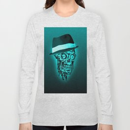 Elegant Skull with hat,mint Long Sleeve T-shirt