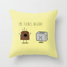 Toast and toaster with text (I'm sick of you) Throw Pillow