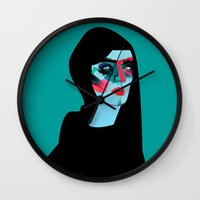 women Wall Clocks featuring Women by Zaneta Antosik