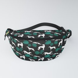 Greyt Greyhound Silhouette with Monstera Leaf on Black Smaller Scale Fanny Pack