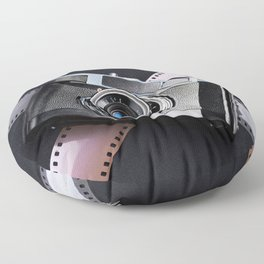 Vintage camera and films on black Floor Pillow