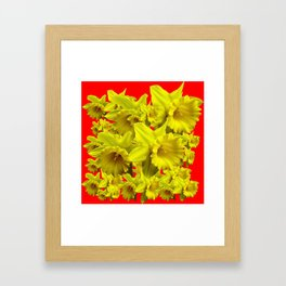 YELLOW SPRING DAFFODILS ON CHINESE RED ART Framed Art Print