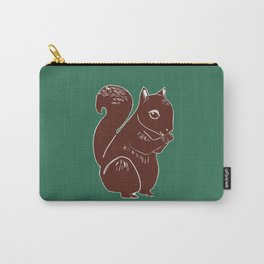 Brown Squirrel with Forest Green Carry-All Pouch