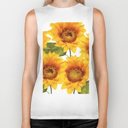 Design Five Sunflower on white Background Biker Tank