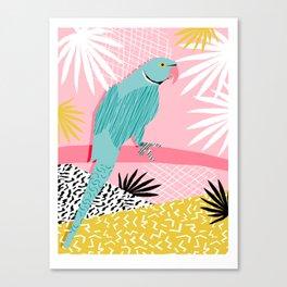 Doin' It - blue india ringneck parrot bird art wacka design animal nature retro throwback neon 1980s Canvas Print