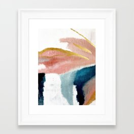 Exhale: a pretty, minimal, acrylic piece in pinks, blues, and gold Framed Art Print