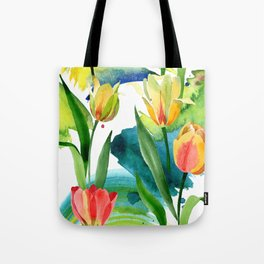 Yellow tulips. Floral botanical flower. Wild spring leaf wildflower i Tote Bag