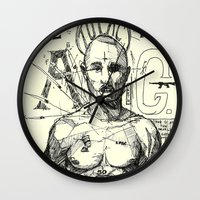 tupac Wall Clocks featuring Tupac: On the 3rd day HE ROSE A G. by Maddison Bond