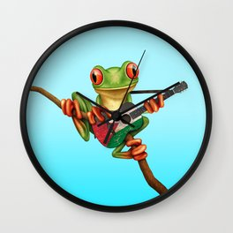 Tree Frog Playing Acoustic Guitar with Flag of Palestine Wall Clock