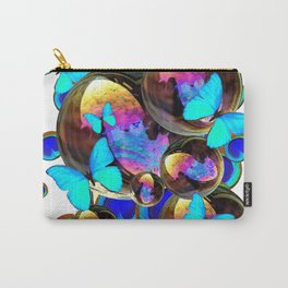 IRIDESCENT BLACK BUBBLES, BLUE BUTTERFLIES,PEACOCK ART Carry-All Pouch