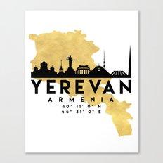 YEREVAN ARMENIA SILHOUETTE SKYLINE MAP ART Canvas Print
