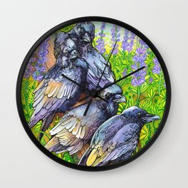 Murder of Crows / Crow Painting / Watercolor & Ink Drawing Wall Clock