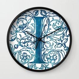 Letter I Antique Floral Letterpress Monogram Wall Clock