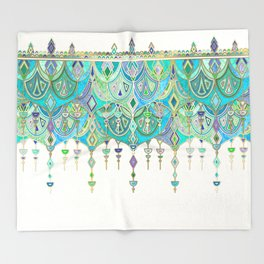 Art Deco Double Drop in Jade and Aquamarine on Cream Throw Blanket