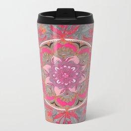 Hot Pink, Magenta and Orange Super Boho Medallions Metal Travel Mug