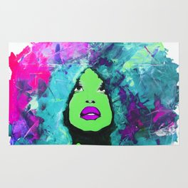 Afro Funk Girl Color Green Pink Rug