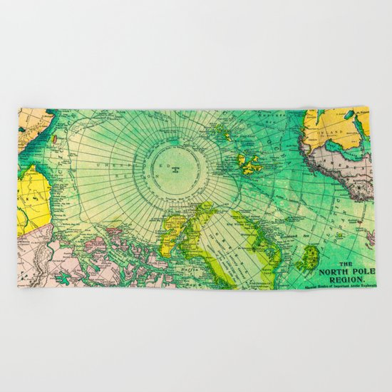 Colorful Map of the North Pole - Vintage Beach Towel