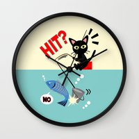 fishing Wall Clocks featuring Fishing by BATKEI