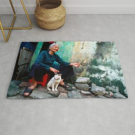 Vietnamese Woman with White Cat Rug