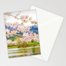Beautiful cherry blossom and pond 2 Stationery Cards