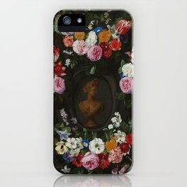 "Jan Philip van Thielen ""Festoon of Flowers surrounding a Bust of Flora"" iPhone Case"