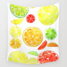 colorful citrus fruit watercolor Wall Tapestry
