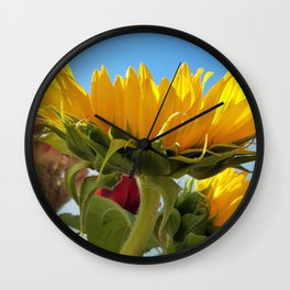 A Summer Bouquet 17 - sunflowers, roses and cockscomb Wall Clock