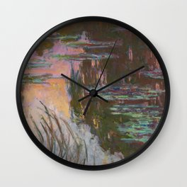Water Lilies - Setting Sun by Claude Monet Wall Clock