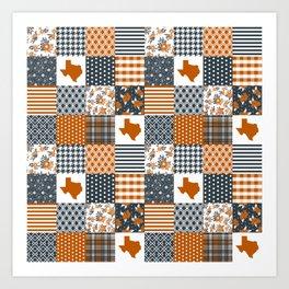 Texas longhorns university quilt pattern gifts sports fan varsity football fan Art Print