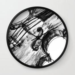 Black Violin Wall Clock