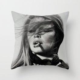 Brigitte Bardot Smoking a Cigarette, Black and White Photograph Throw Pillow