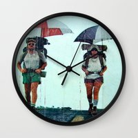 hiking Wall Clocks featuring Rain Hiking by Fallon Chase
