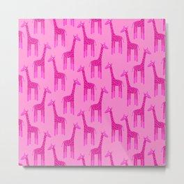 Giraffes-Pink Metal Print