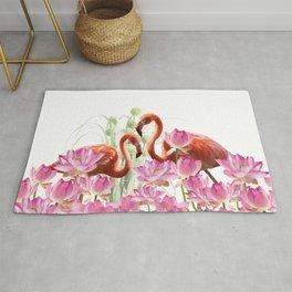Flamingo Lotos Flower Blossoms Rug