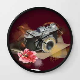romantic magenta camera Wall Clock