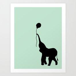 Elephant with Balloon - Mint Art Print