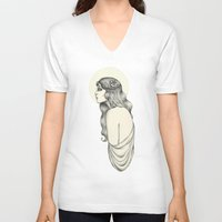 luna V-neck T-shirts featuring Luna by Caitlin McCarthy