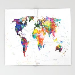 world map political watercolor 2 Throw Blanket