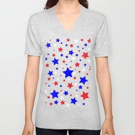 Red White and Blue Stars Unisex V-Neck