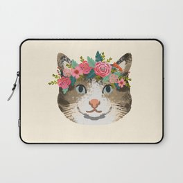 Cat tabby floral crown cute gifts for cat lovers Laptop Sleeve